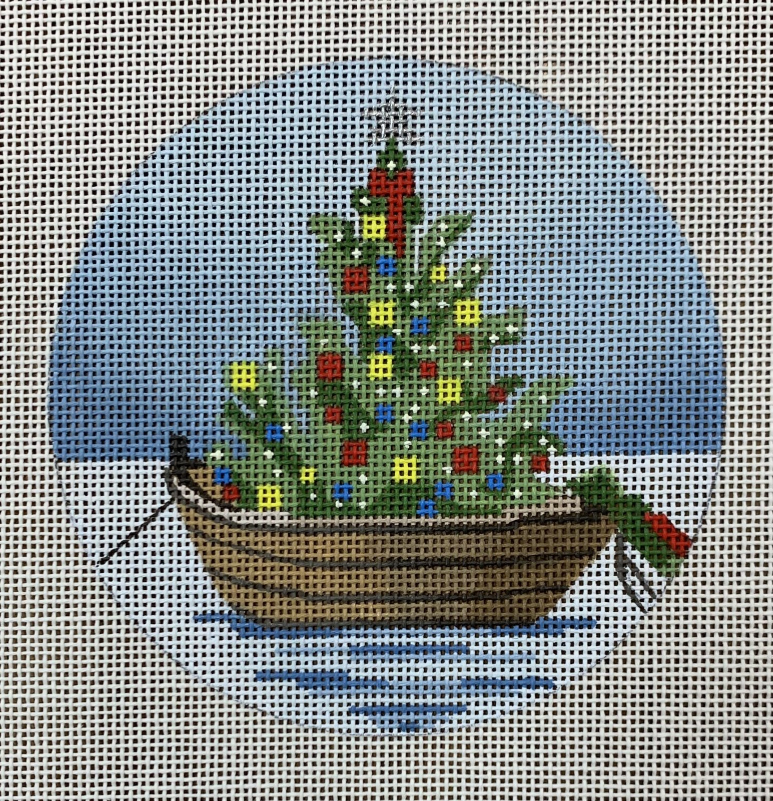 Nantucket Boat with Wreath