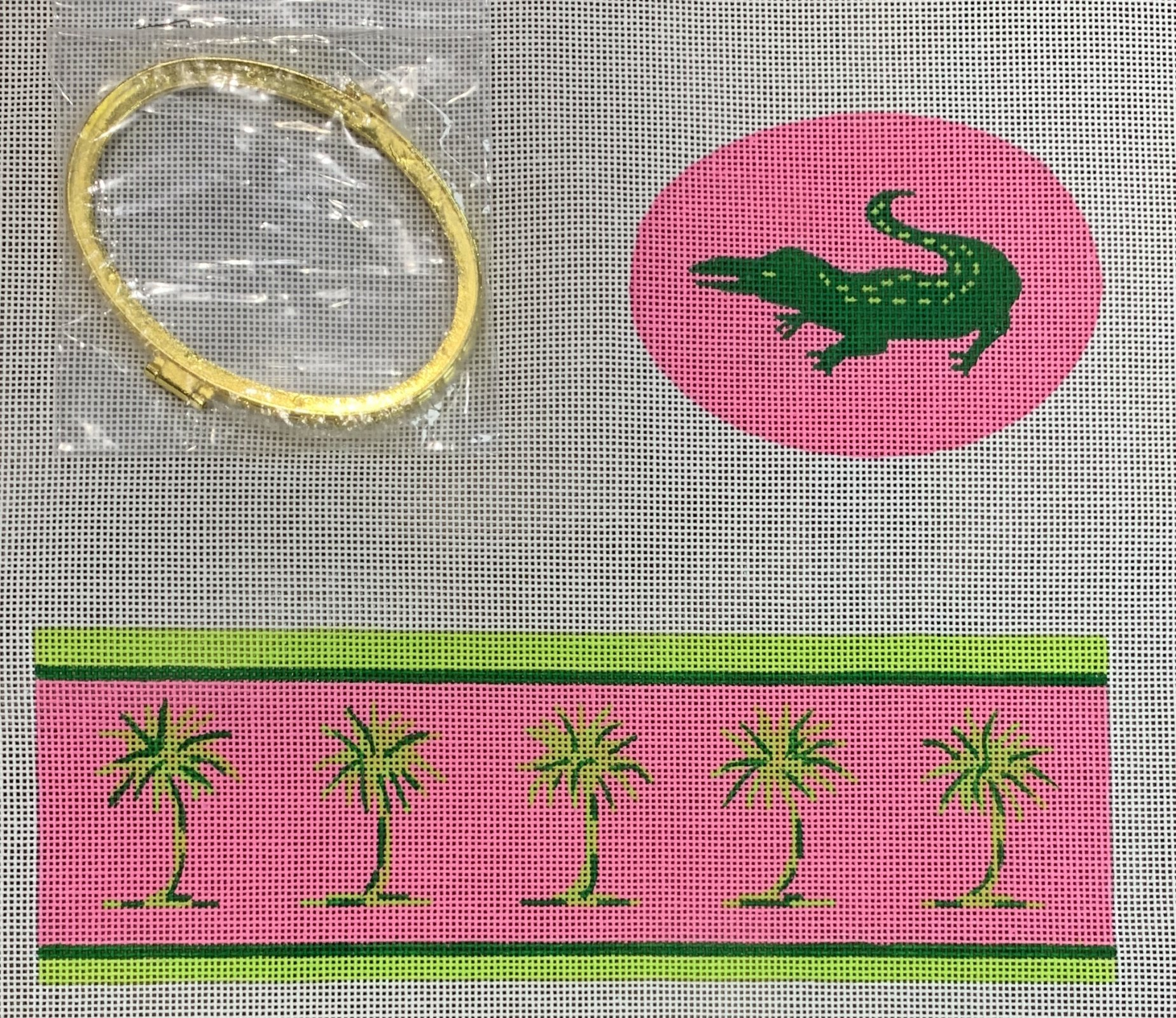 Limoges Box-Lg. Oval Green Gator & Palms on Hot Pink