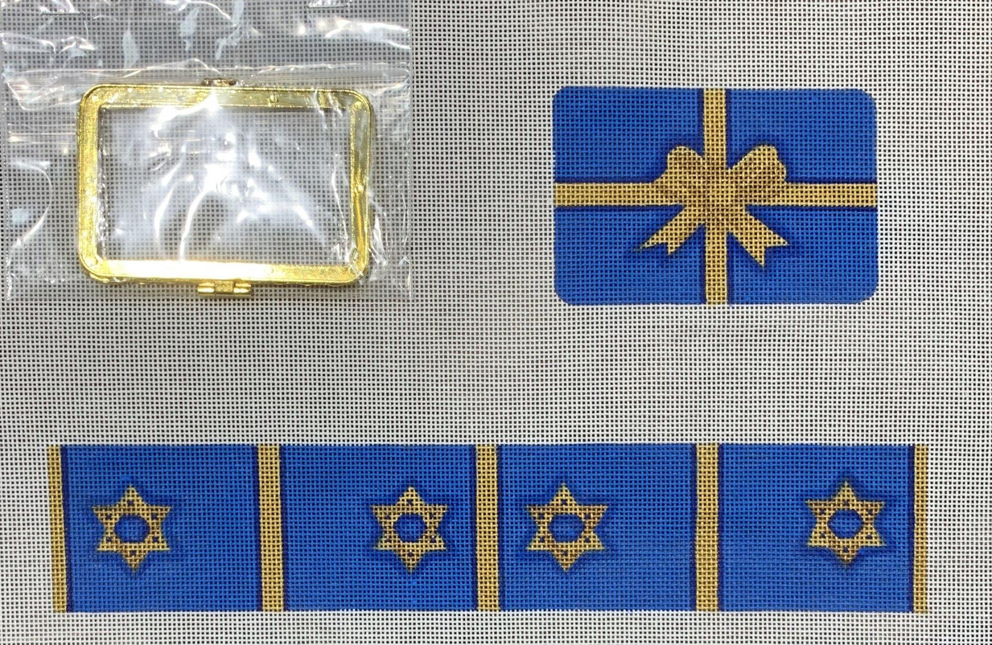 Limoges Box-Med. Rectangle Gift Box-Hanukkah blues & golds