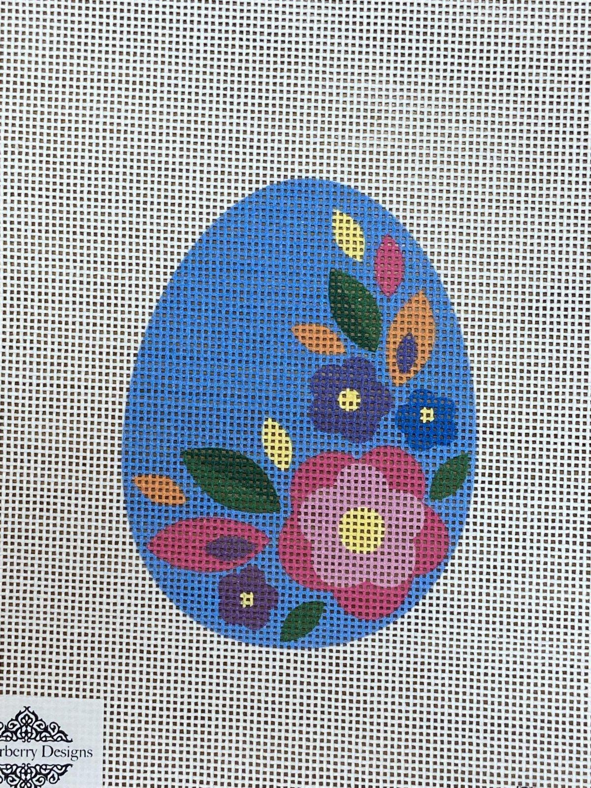 Blue Floral Flat Egg