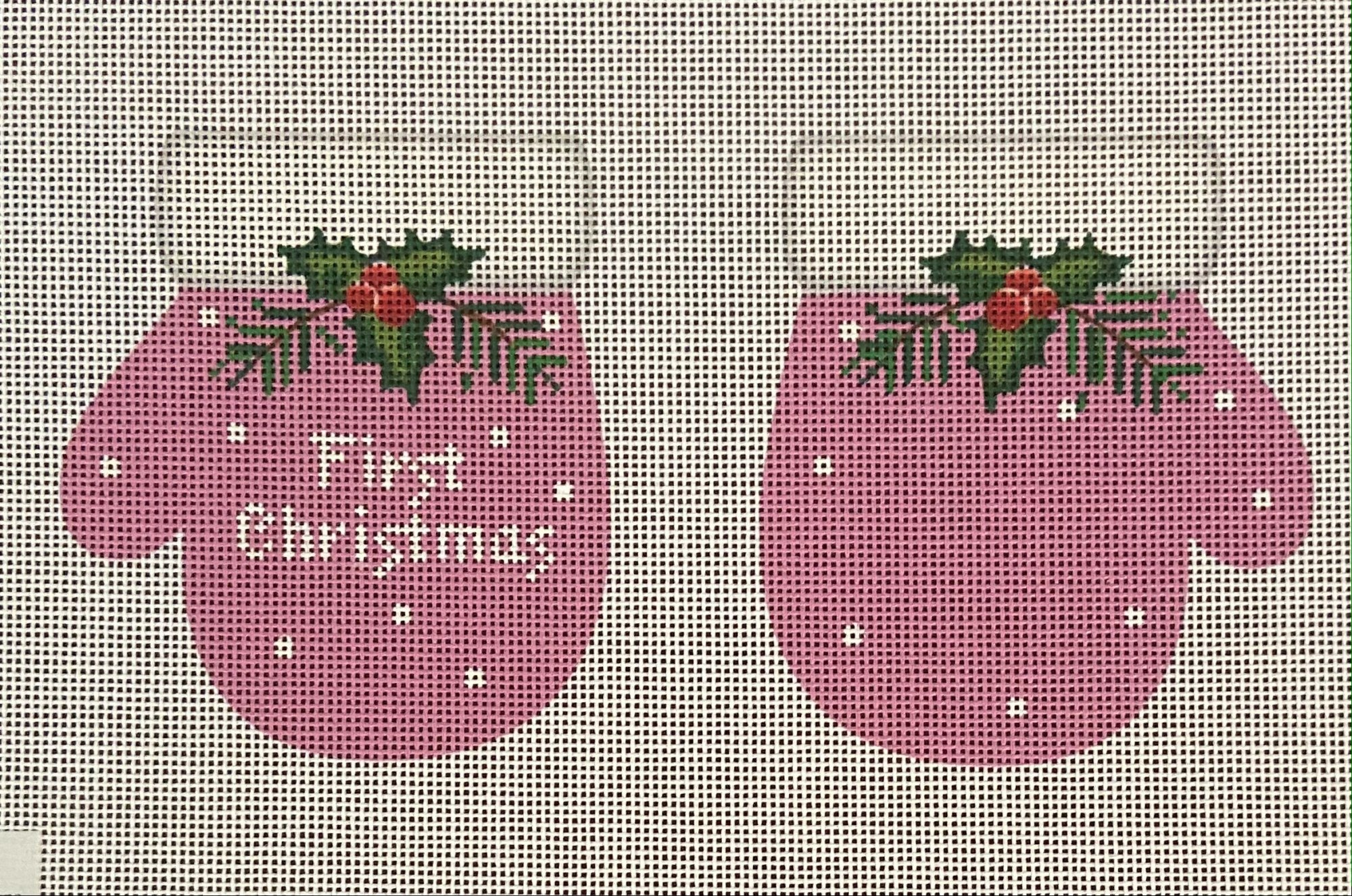 1st Christmas Mittens Pink