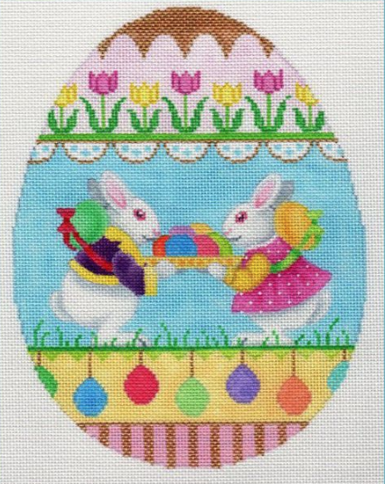 Large Egg w/ Boy and Girl Bunnies
