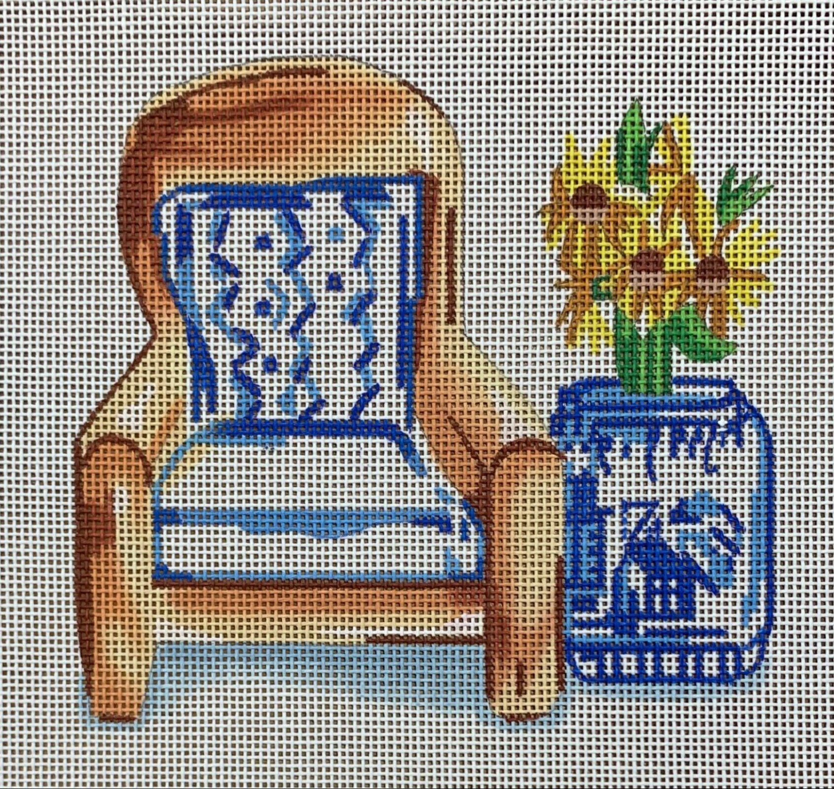 Chair with Blue/White Pillow