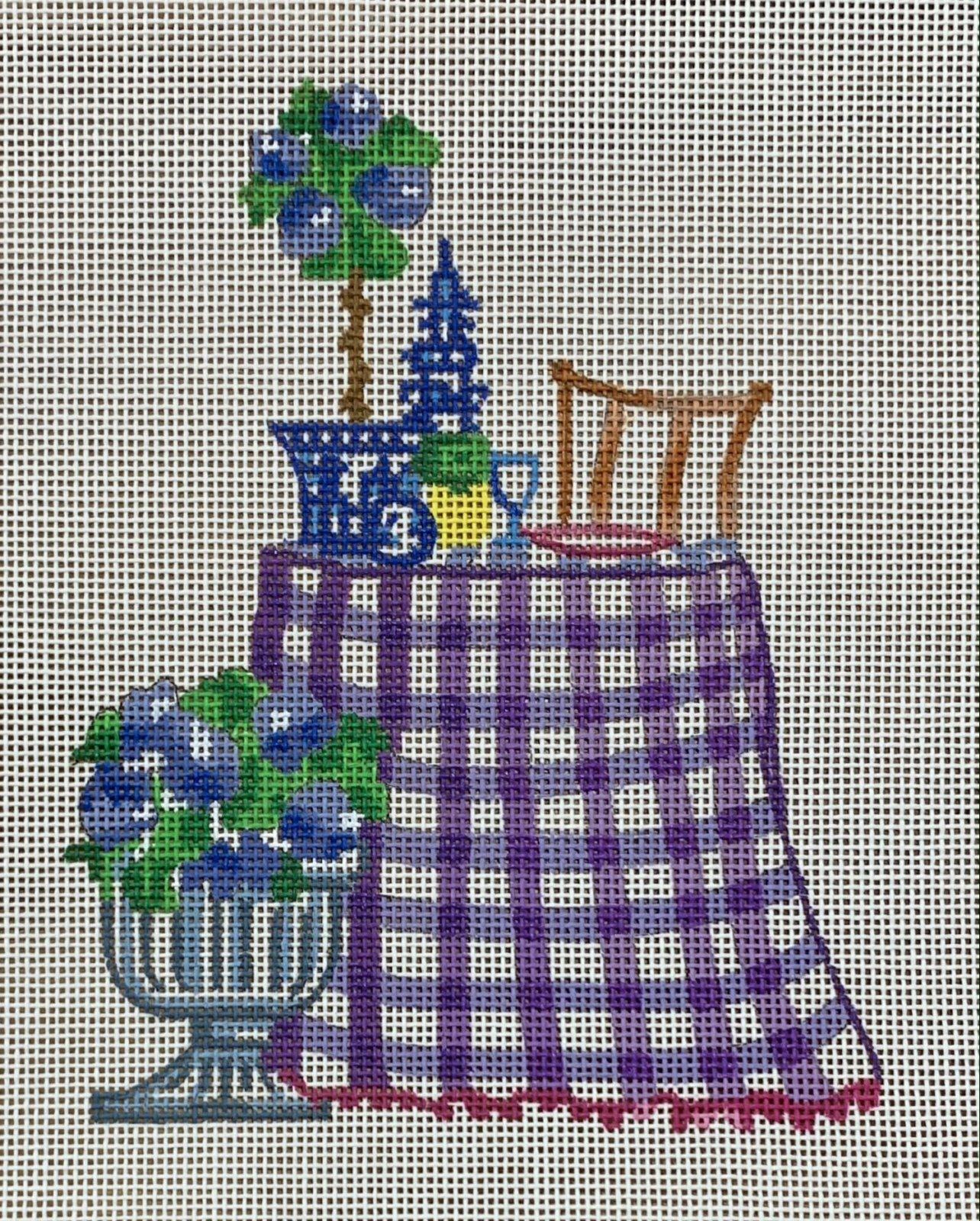 Purple White Check Table