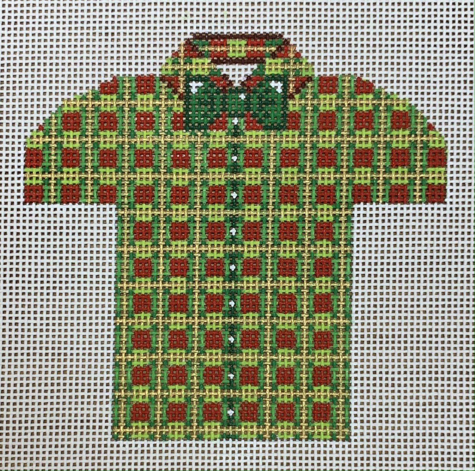 Men's Shirt - Christmas Plaid with Green