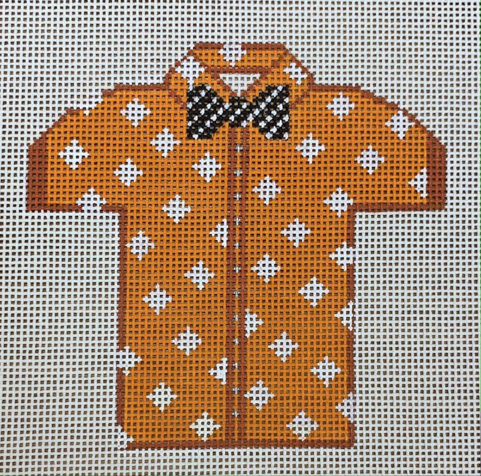 Men's Shirt - Orange with Diamonds