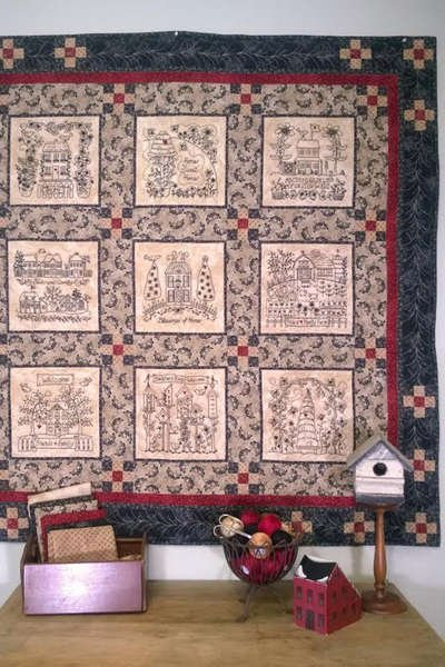 Home & Heart BlackWork Quilt w/ CD