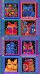 Multi Feline Frolic Blocks Metallic, Panel 24inx44in with 8in unframed blocks