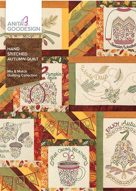 Hand Stitched Autumn Quilt - Anita Goodesign Full Collection