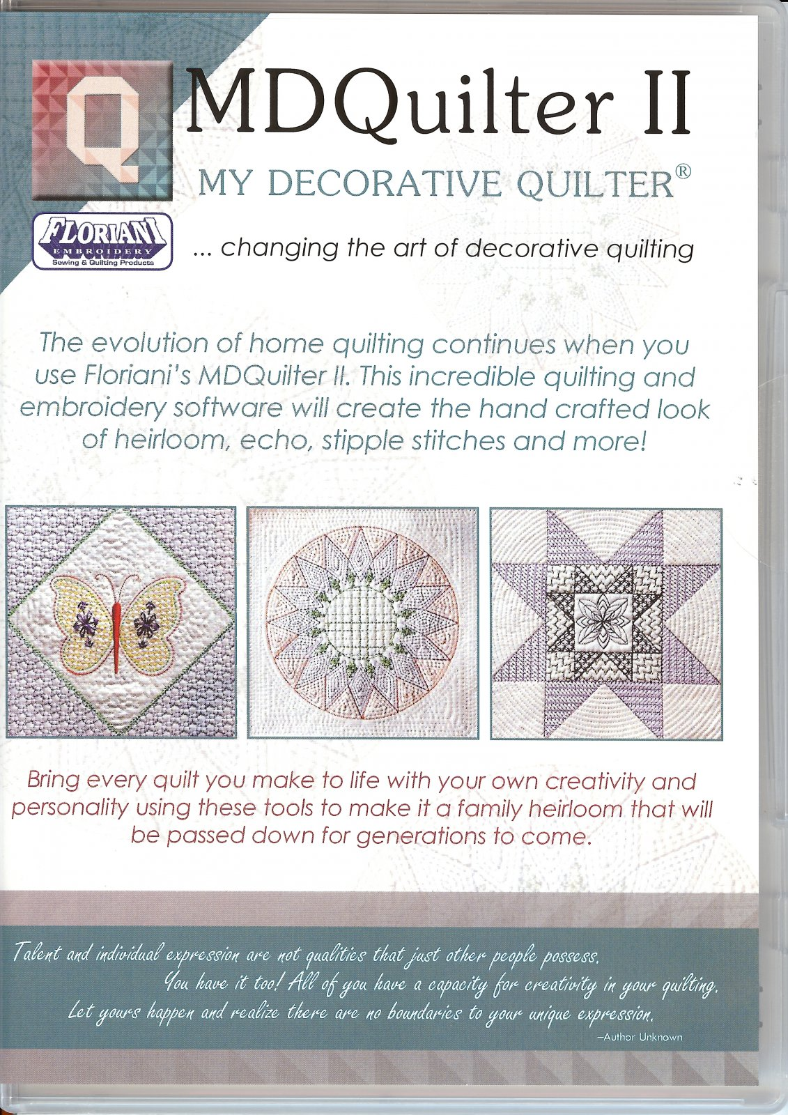 MD QUILTER 2 - My Decorative Quilter - Floriani