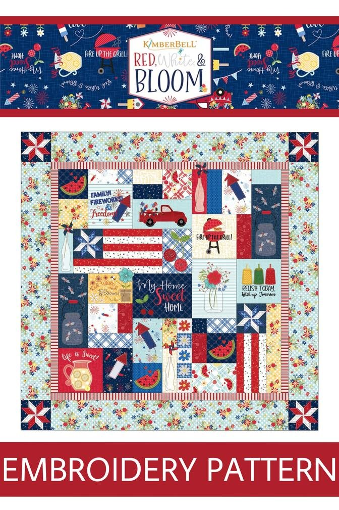 KimberBell Red White & Bloom Quilt Embroidery CD