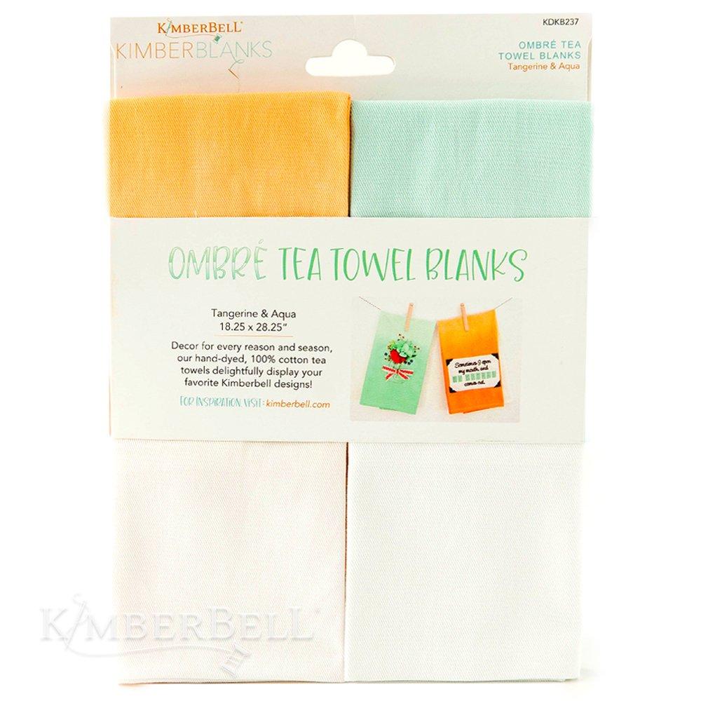 Kimberbell Ombre' Tea Towels- Tangerine & Aqua