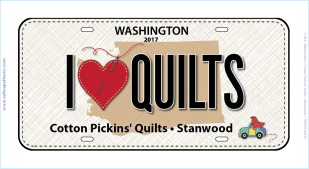 2017 License Plate I love QUILTS