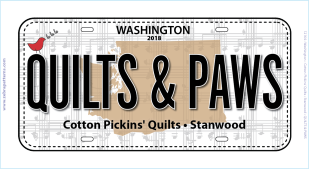 2018 License Plate QUILTS & PAWS