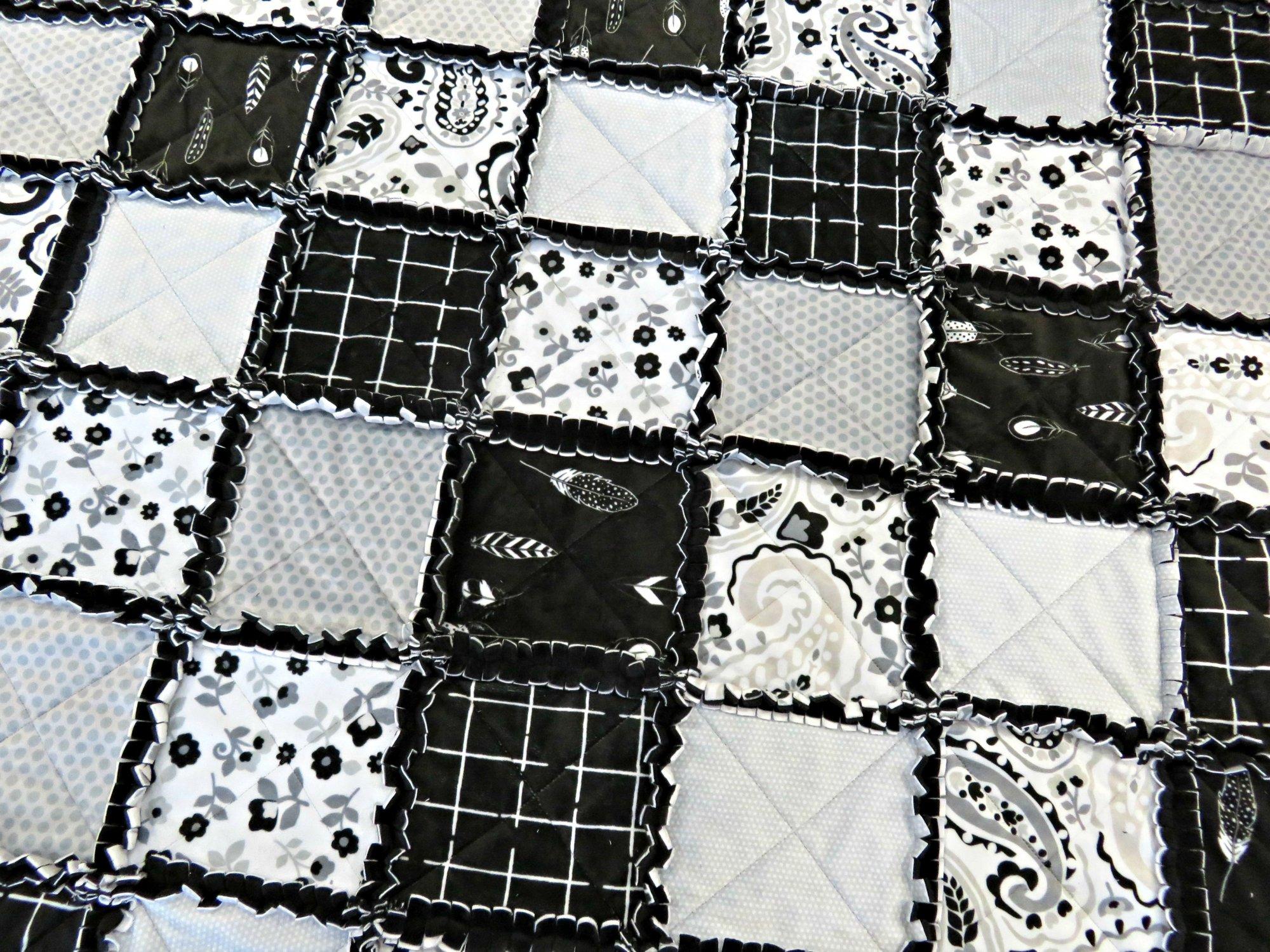 Black Floral Minkee Rag Kit