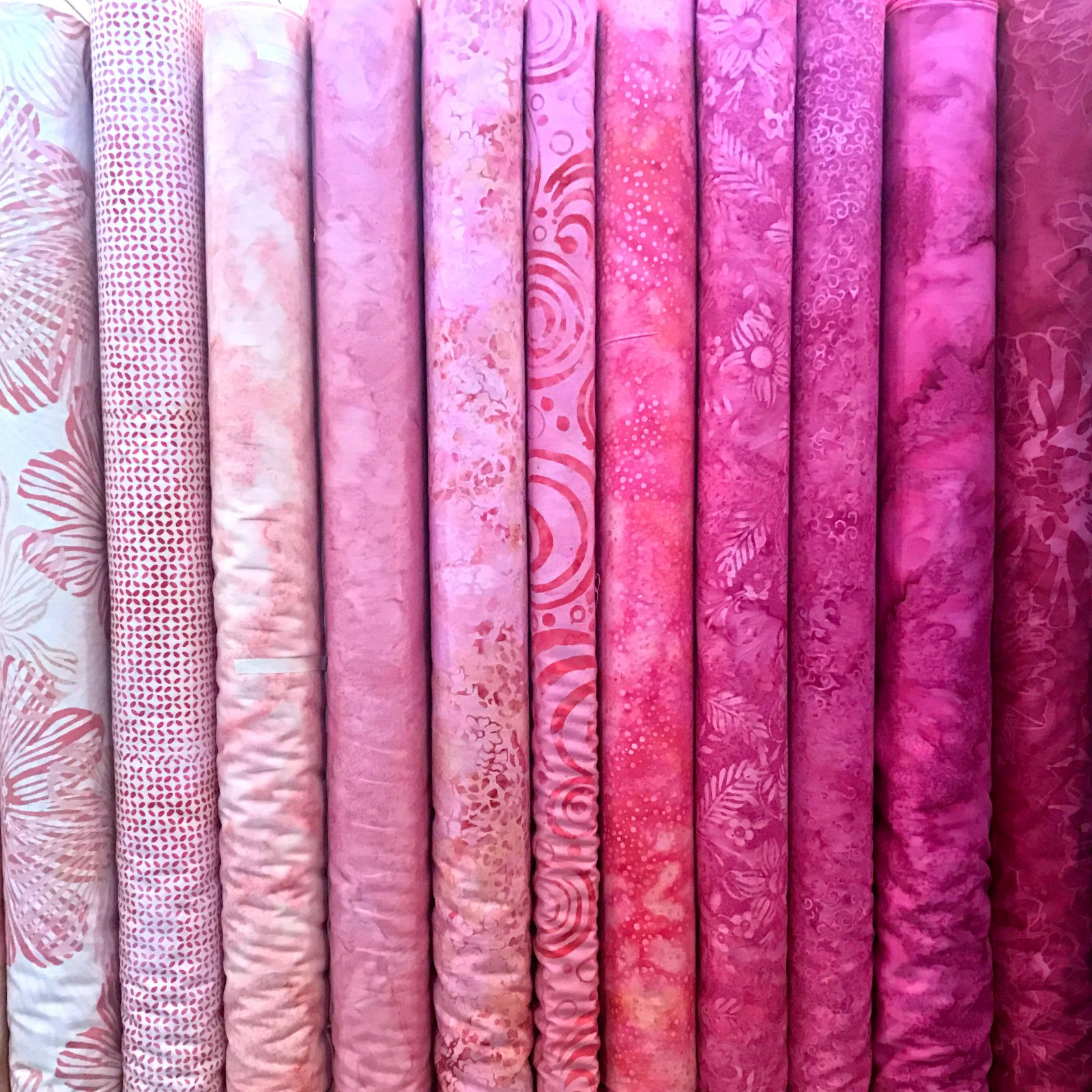 Bubblegum Pink Batiks Fat Quarters - 11 FQ's