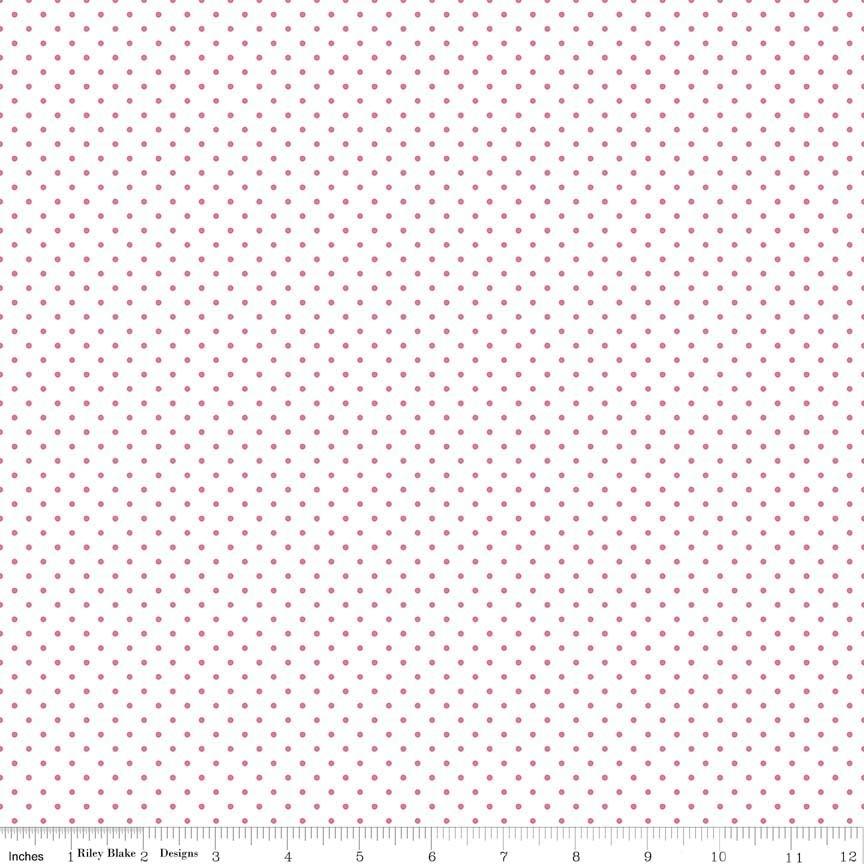 Pink Swiss Dot on White