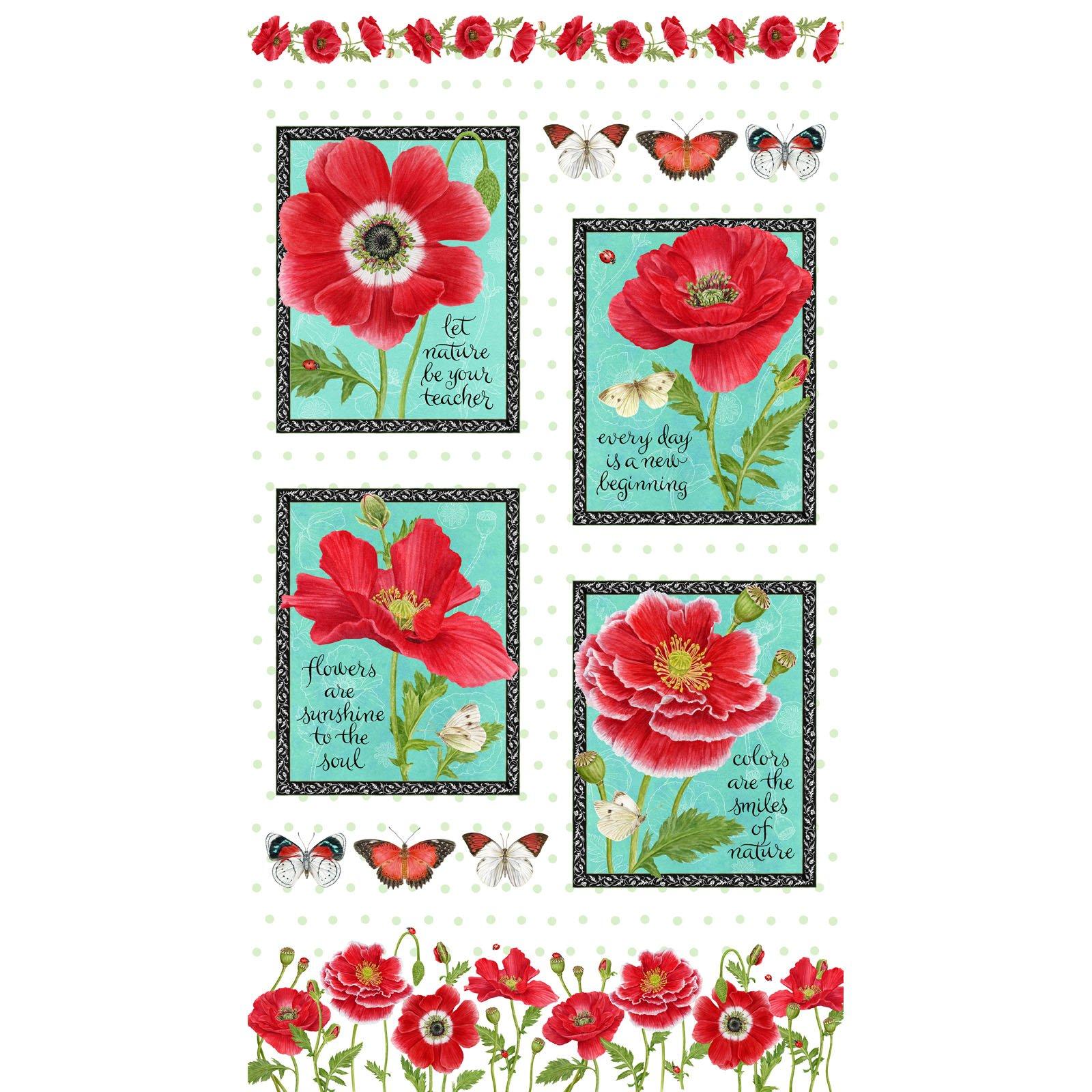 Poppy Perfection Quilt Panel