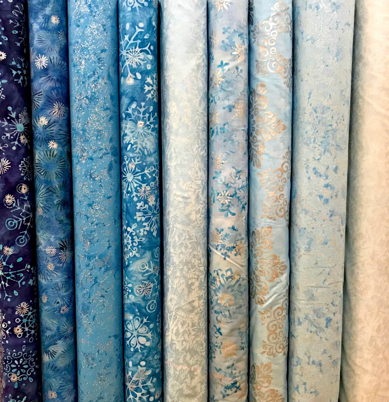 Metallic Blue Christmas - 9 Fat Quarters