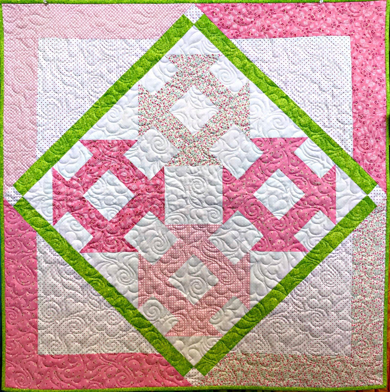 Pink Baby Churn Dash Quilt Kit