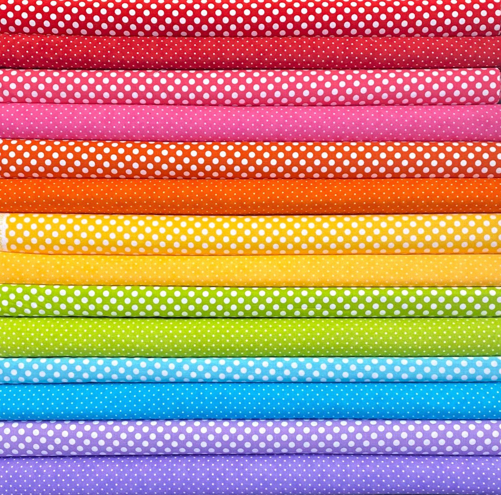 Rainbow Dots Fat Quarters - 14 FQ's