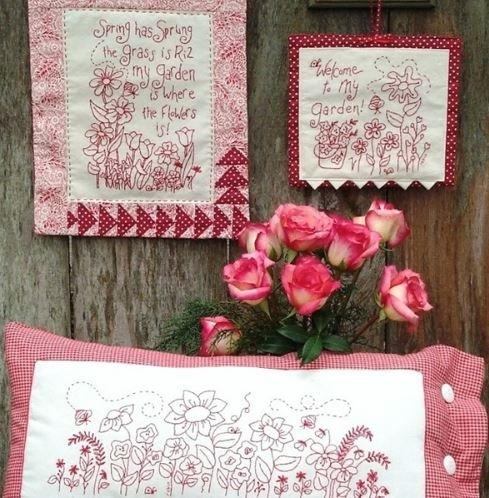 Spring Garden Redwork - Hand Embroidery