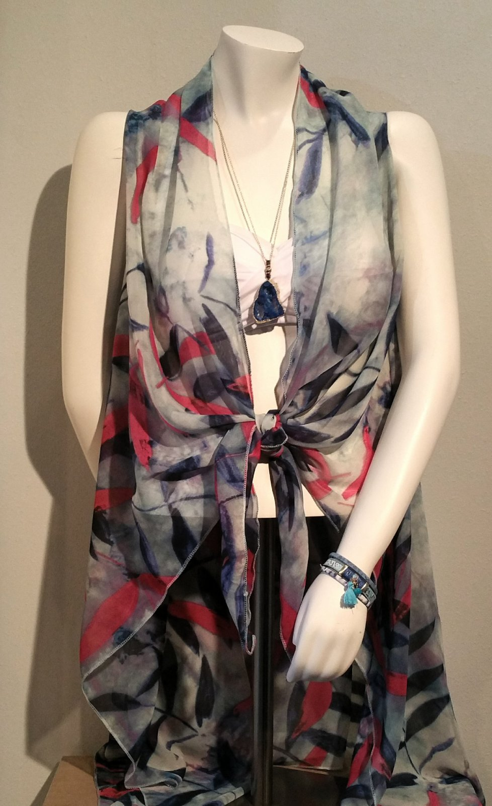 Cover Up - Blue Floral Vest * RESORT WEAR OS