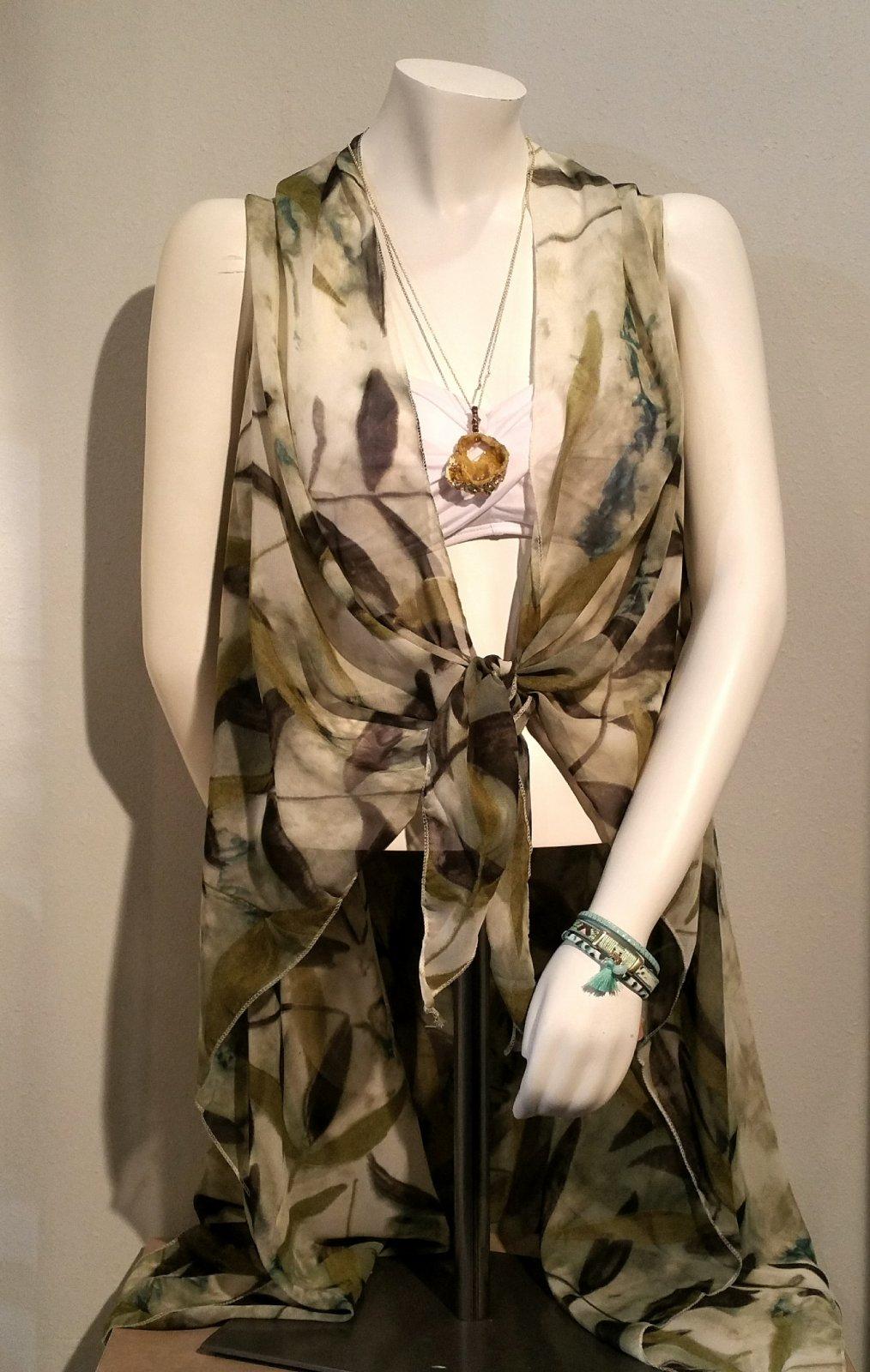 Cover Up  - Green Floral Vest  * RESORT WEAR OS