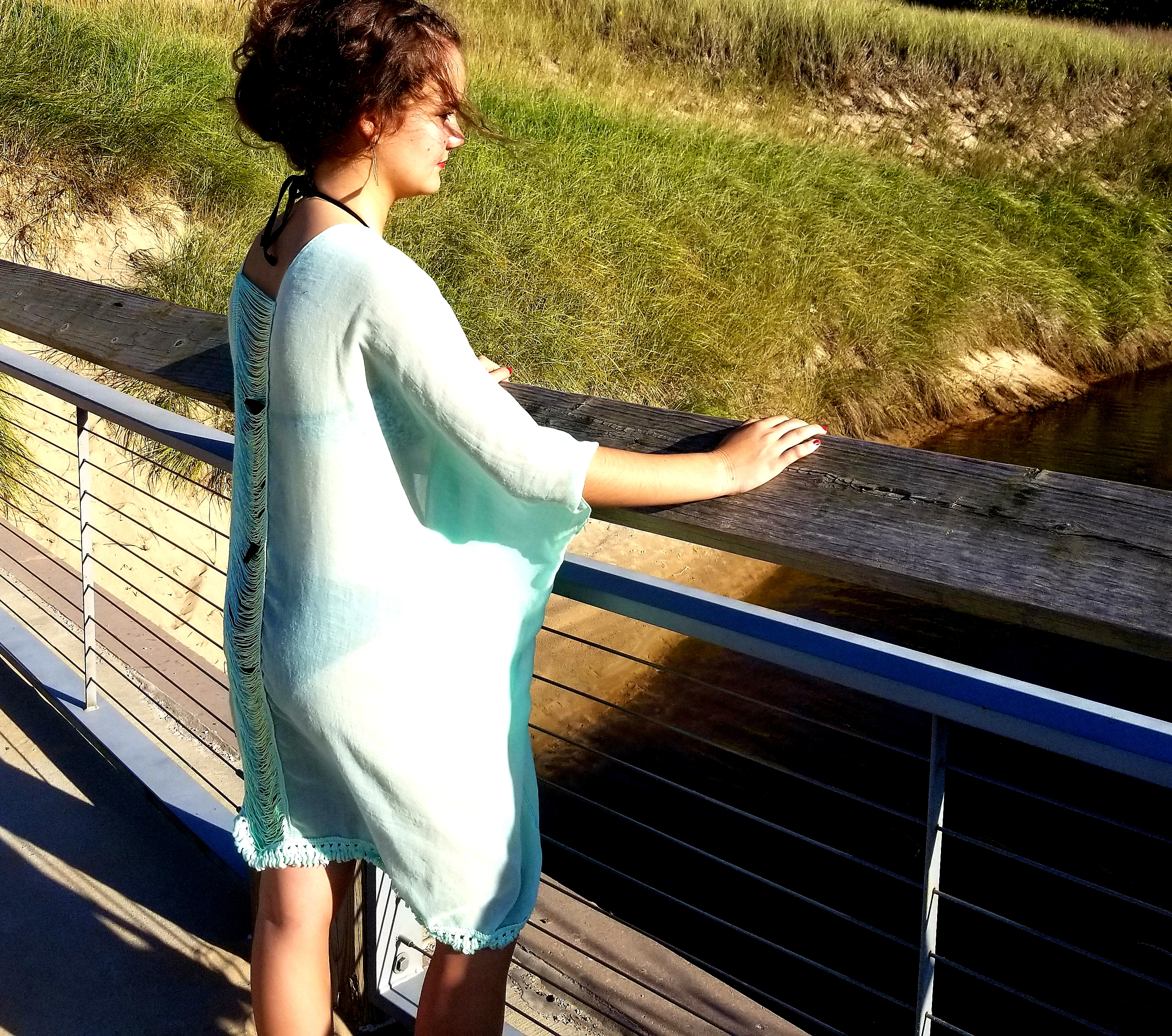 WRAP - Cover Up Mint Ripped Back * RESORT WEAR 0S