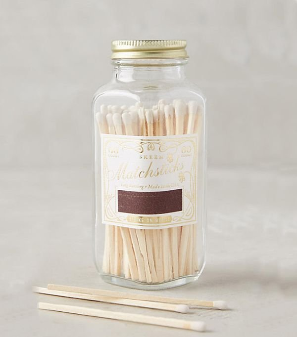 Mini Vintage Match Bottle - White