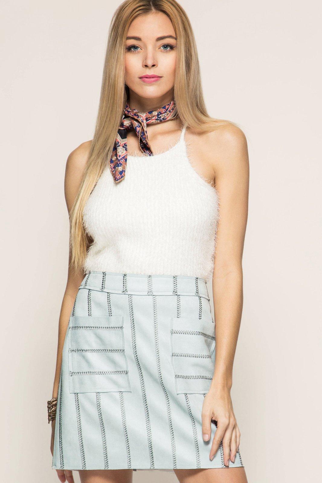 FAUX LEATHER Mini Skirt BLUE GREY * JR / Ms / Adult PT