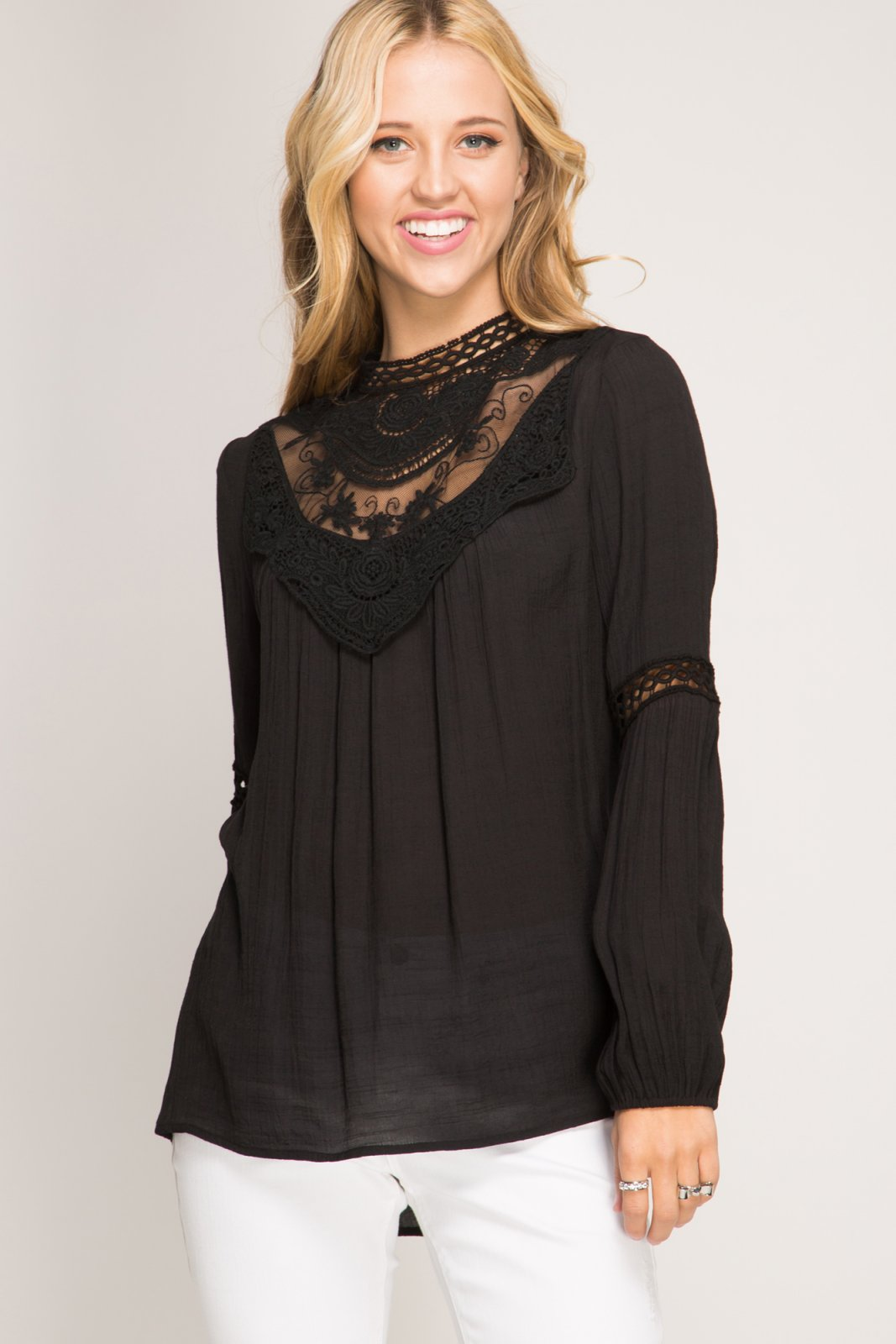BLOUSE Embroidered BLACK