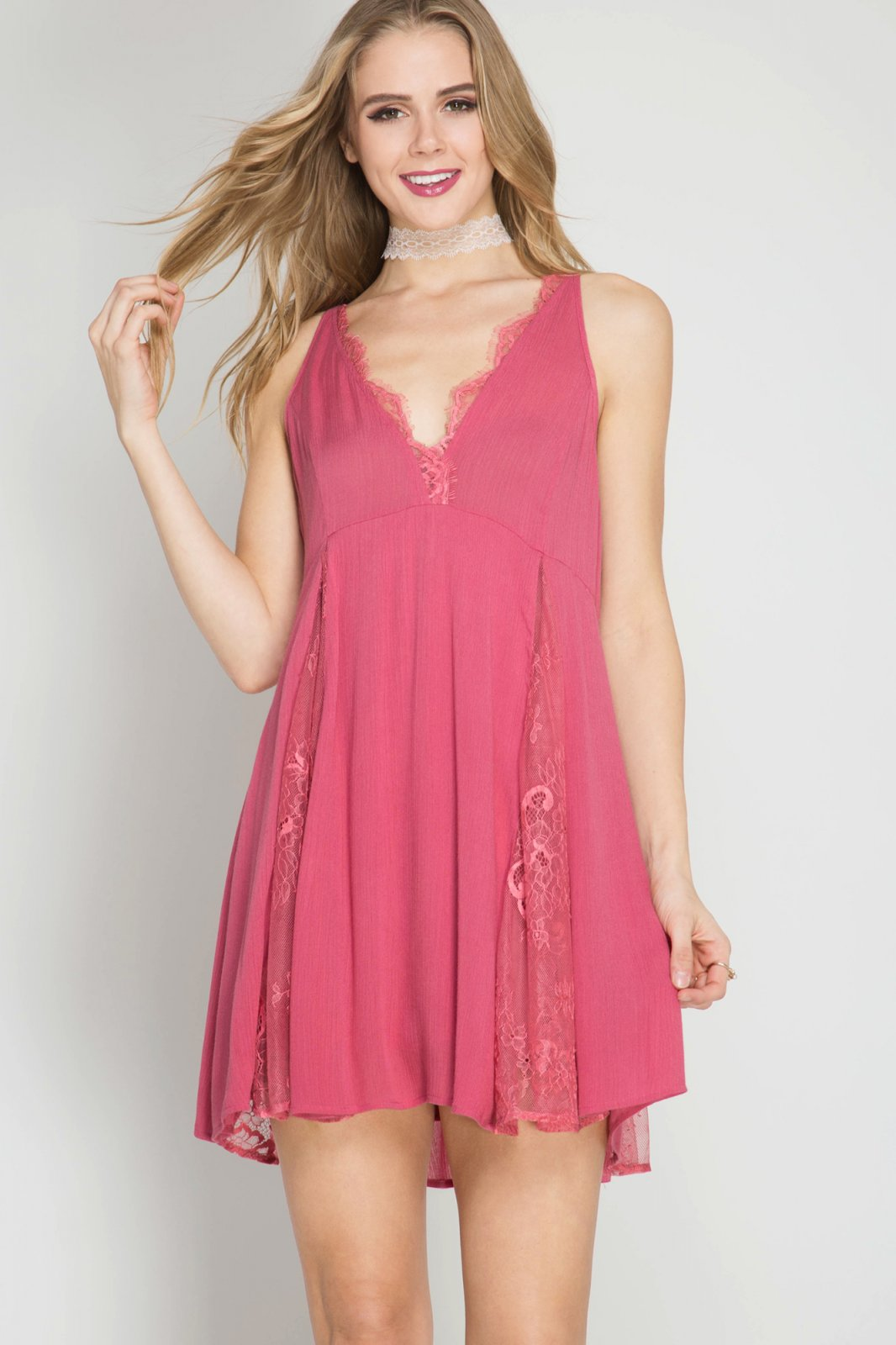 COCKTAIL DRESS Flare - RASPBERRY
