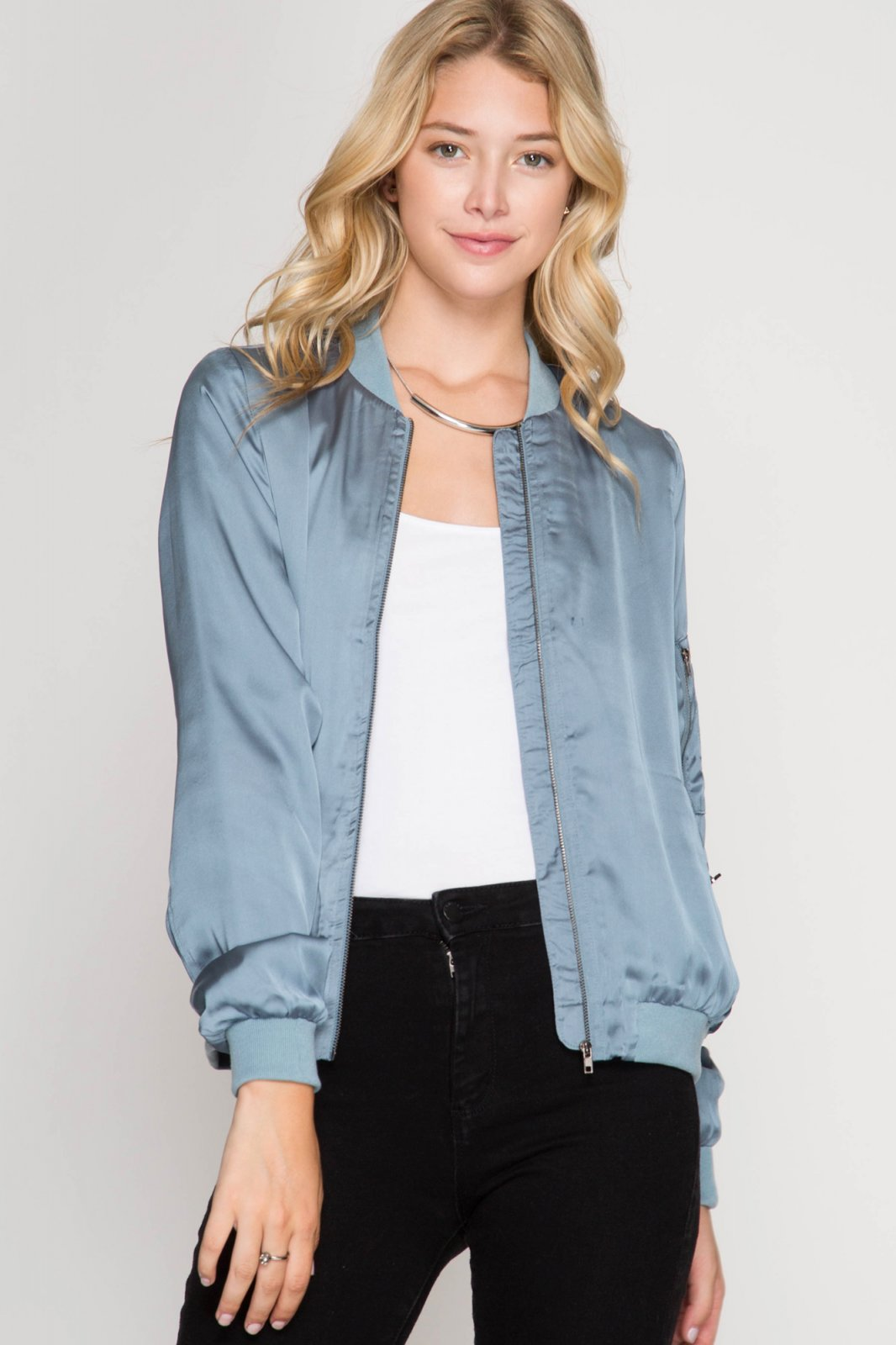 Bomber Jacket -  Satin  * Jr / Ms /Adult Pt DUSTY BLUE
