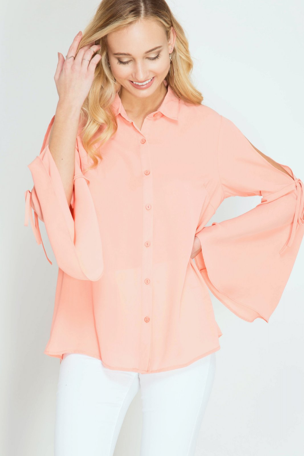 BLOUSE Button Down CORAL