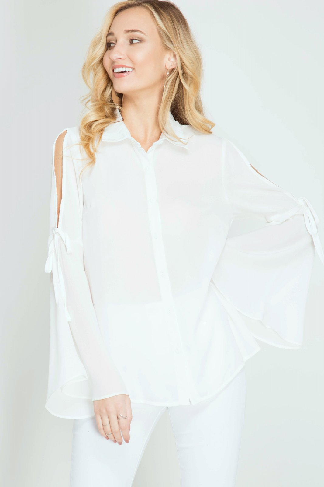 BLOUSE - Button Down Top - WHITE