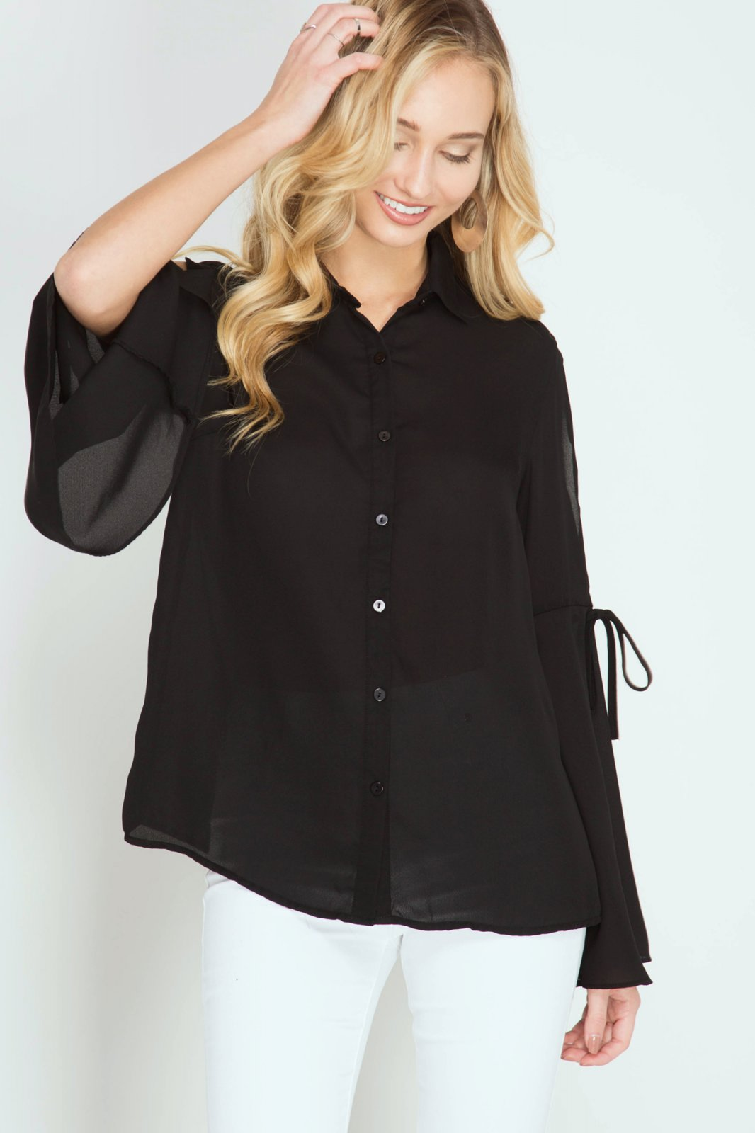 BLOUSE Button Down BLACK