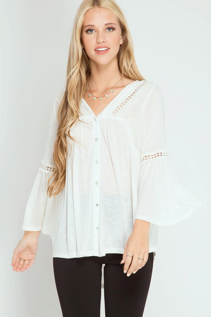 Blouse  - 3/4 Bell Sleeve WHITE * RAYON
