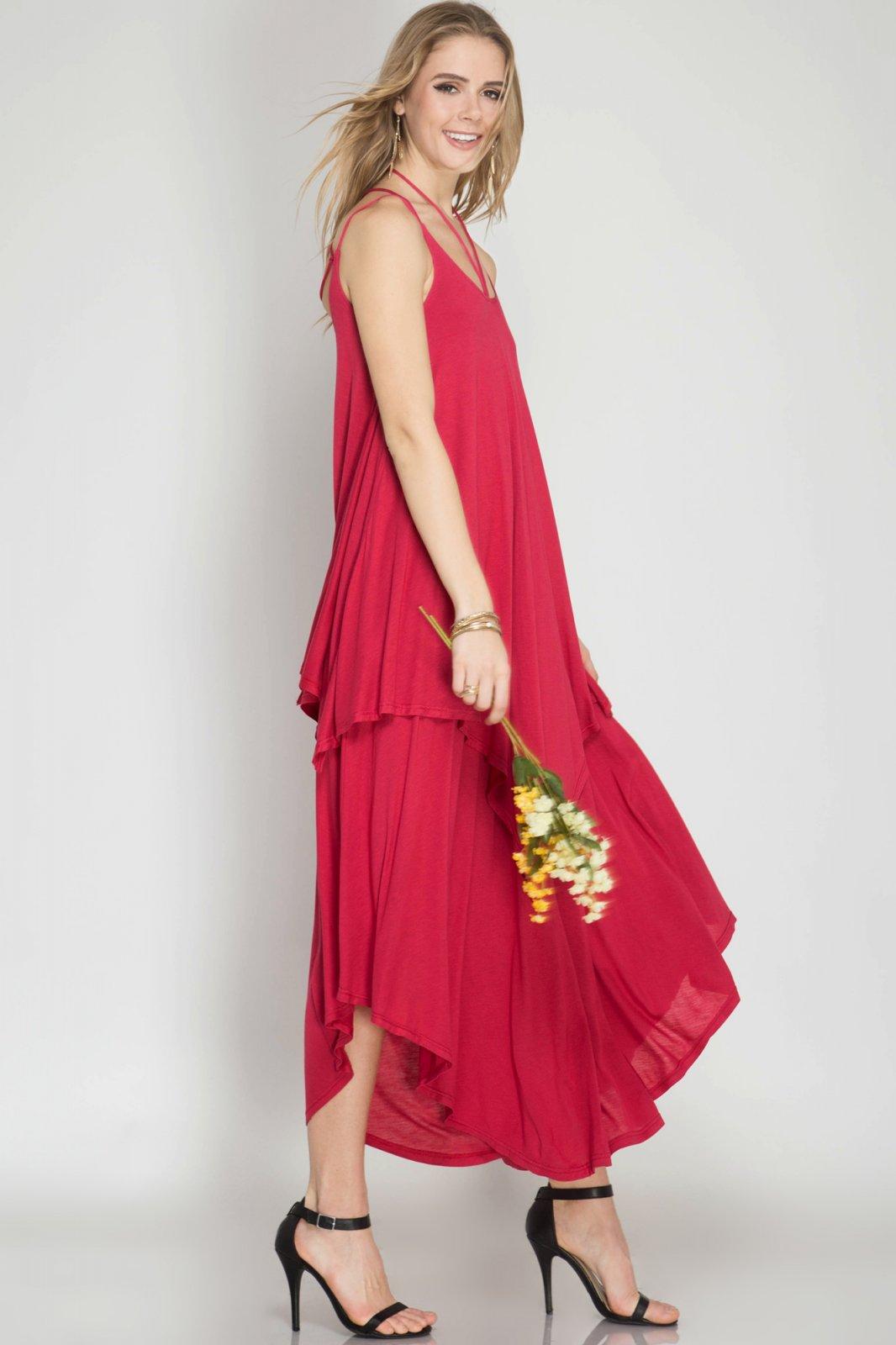 DRESS Maxi Knit Dress CHERRY * RAYON