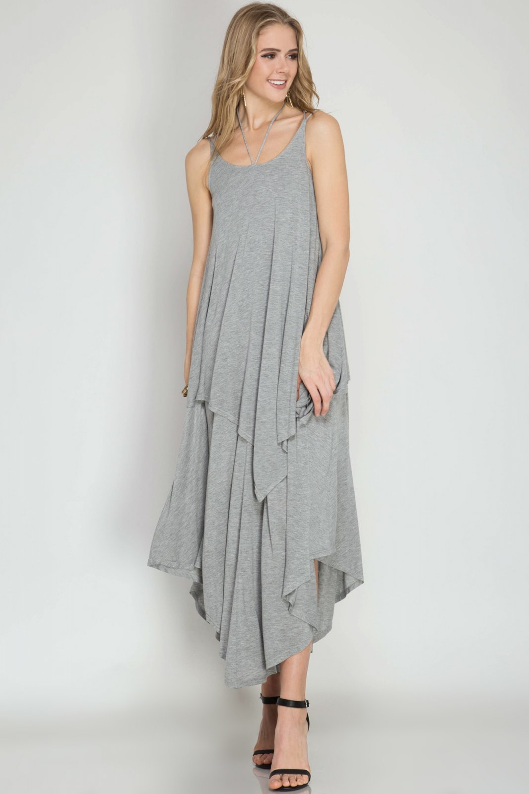 DRESS Maxi Knit Dress GREY * RAYON