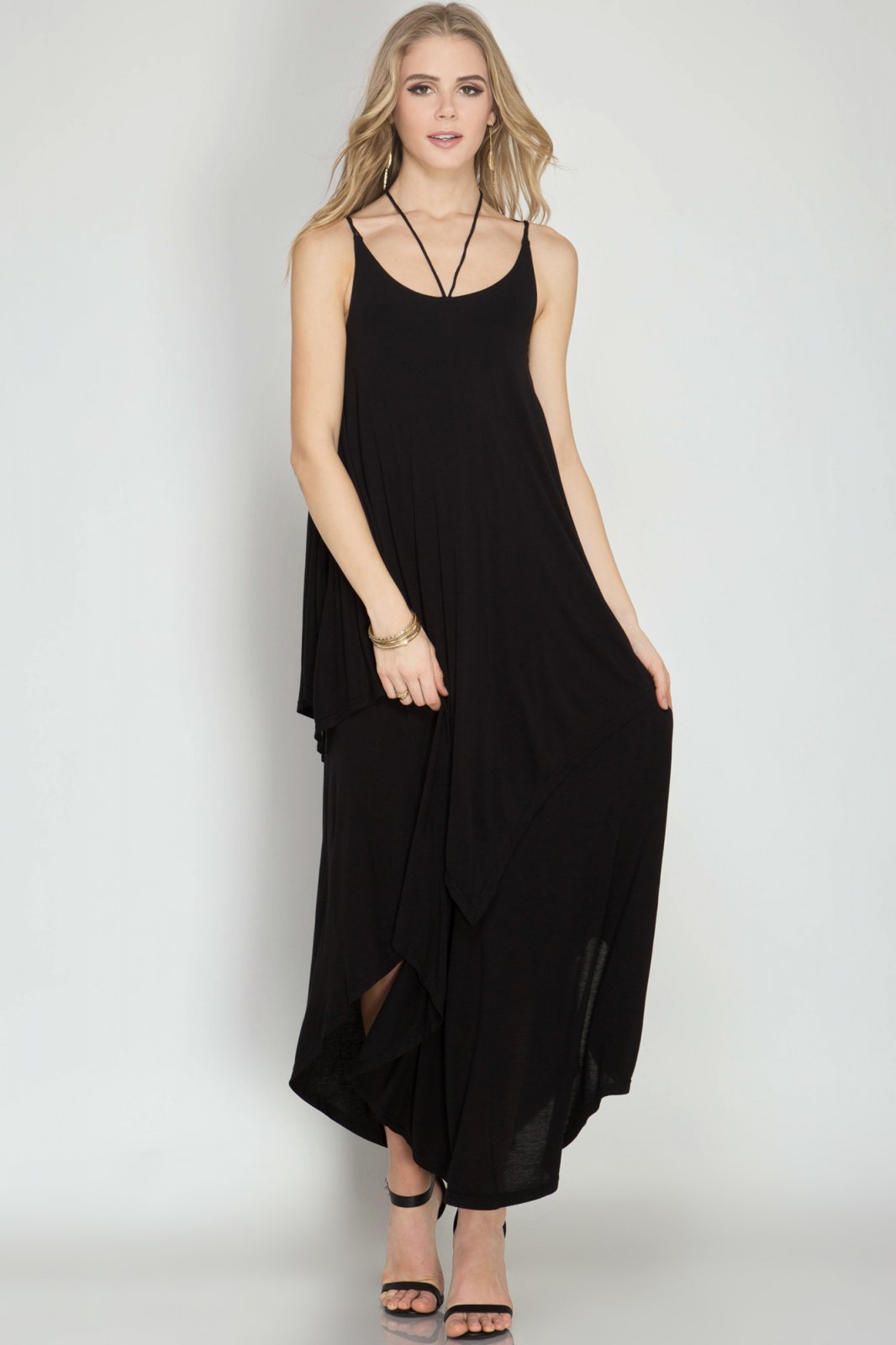 DRESS Maxi Knit Dress BLACK * RAYON