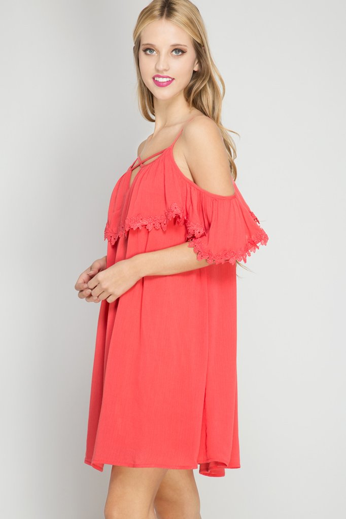 DRESS / TUNIC  Cold Shoulder TOMATO
