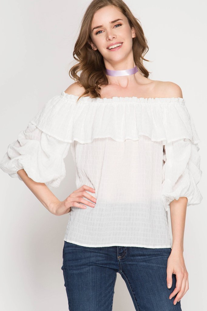 Blouse Off Shoulder Ruffle Top - WHITE