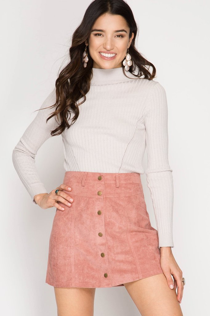 FAUX LEATHER Mini Skirt DUSTY PINK * JR / Ms / Adult PT