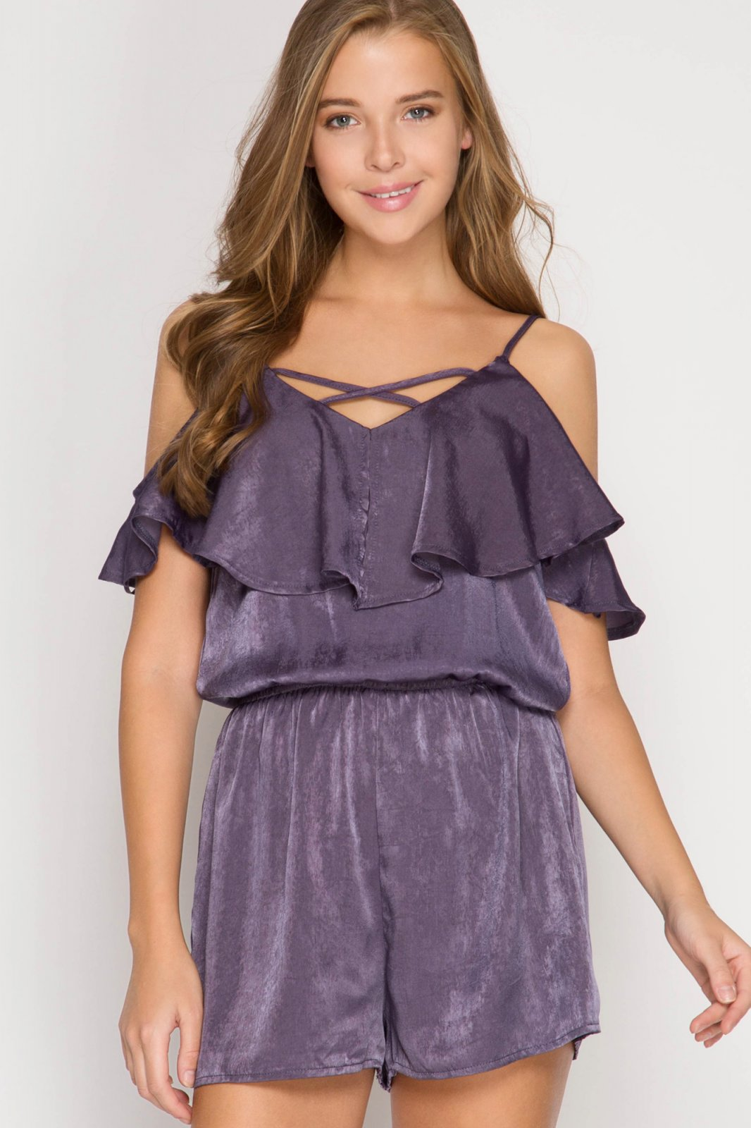 BOTTOM - ROMPER Satin DUSTY PURPLE * Jr / Ms / Adult Pt