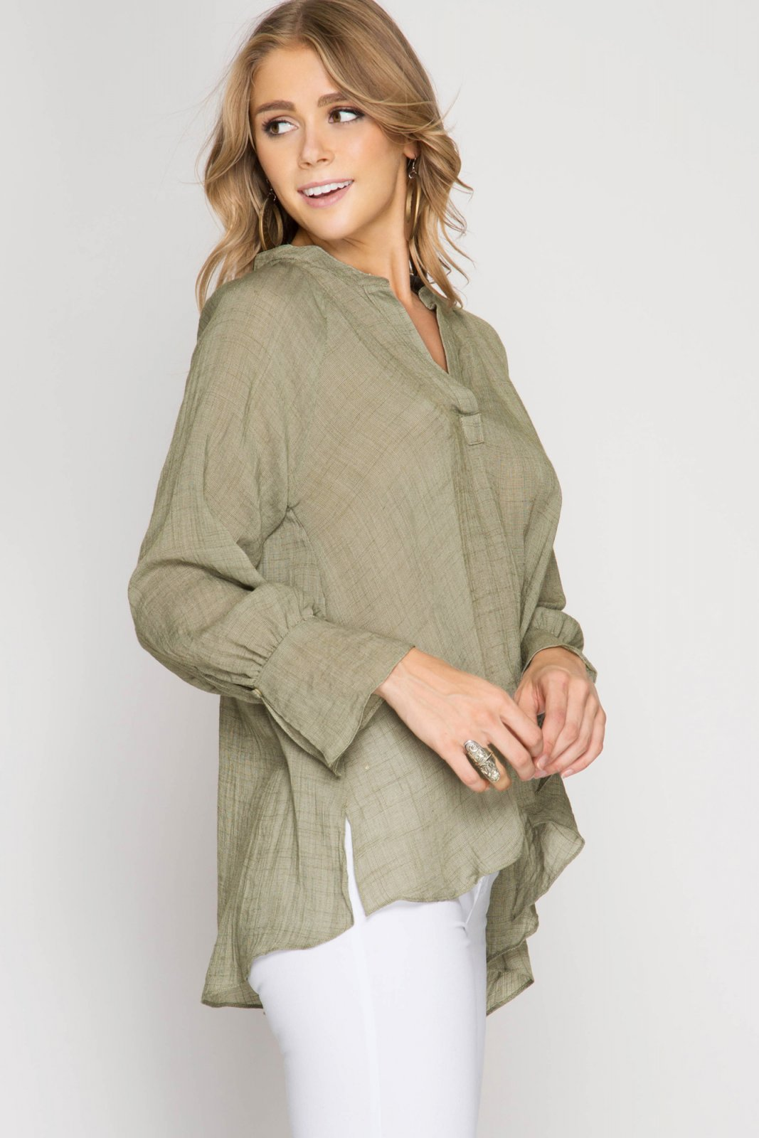 BLOUSE Long Sleeve Top -  OLIVE