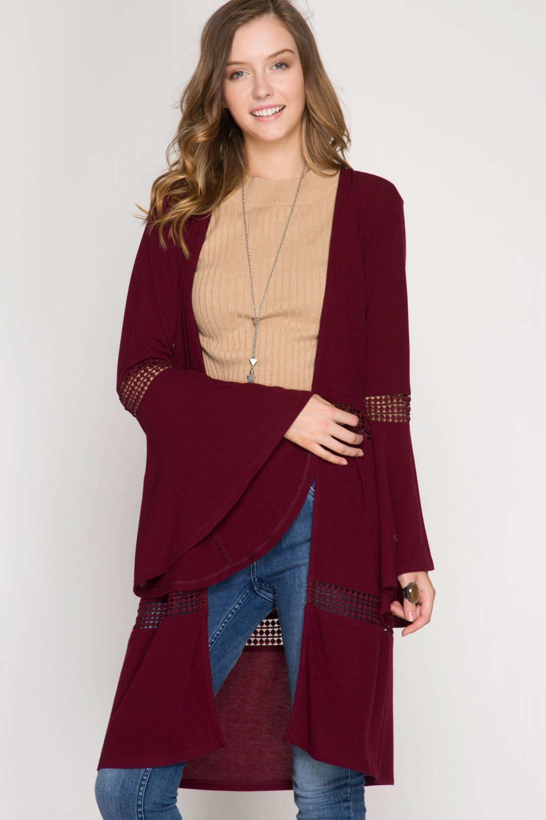 CARDIGAN Cover Up WINE * RAYON