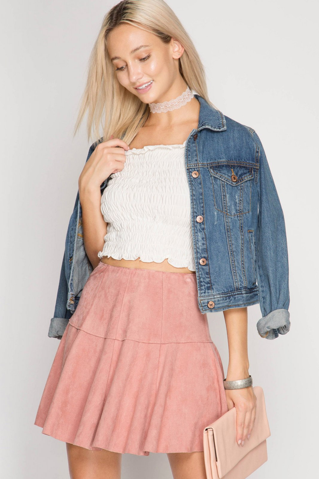 FAUX LEATHER Flare Mini Skirt ROSE * JR / Ms / Adult PT