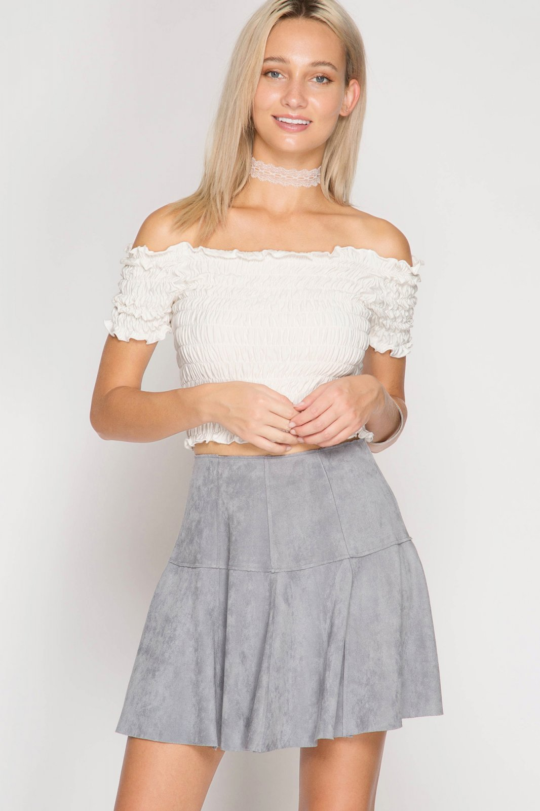 FAUX LEATHER Flare Mini Skirt LIGHT SLATE * JR / Ms / Adult PT