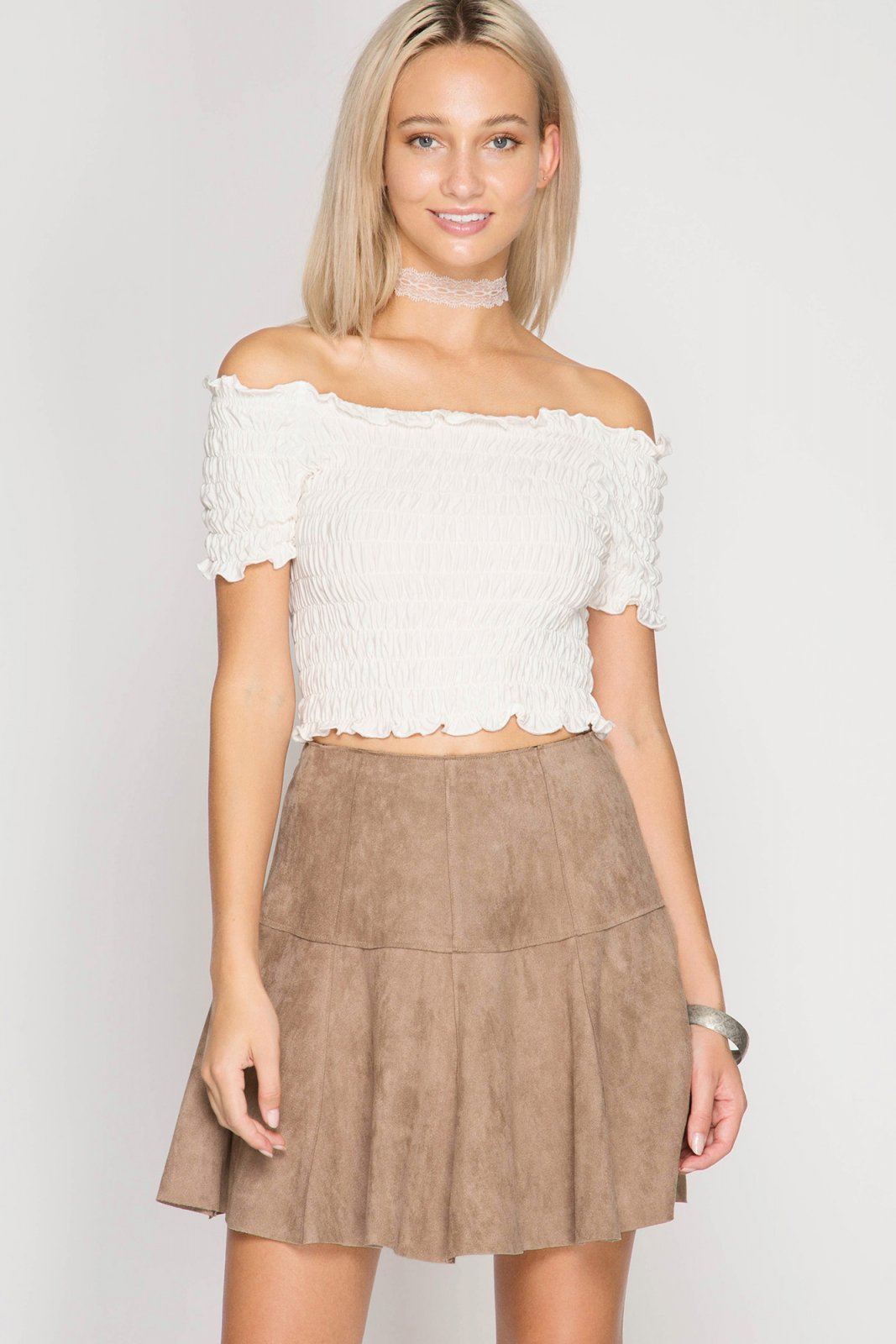 FAUX LEATHER Flare Mini Skirt TAUPE * JR / Ms / Adult PT